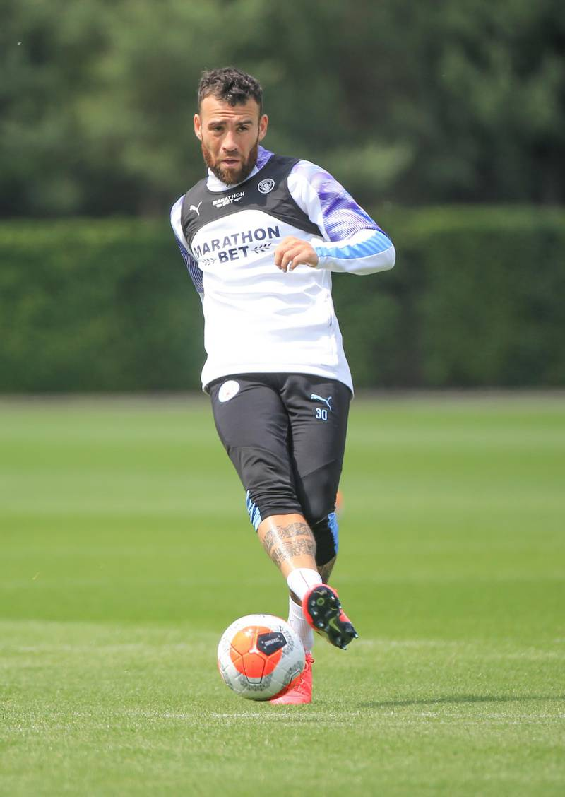 MANCHESTER, ENGLAND - JUNE 14: Manchester City's Nicholas Otamendi in action during training at Manchester City Football Academy on June 14, 2020 in Manchester, England. (Photo by Tom Flathers/Manchester City FC via Getty Images)
