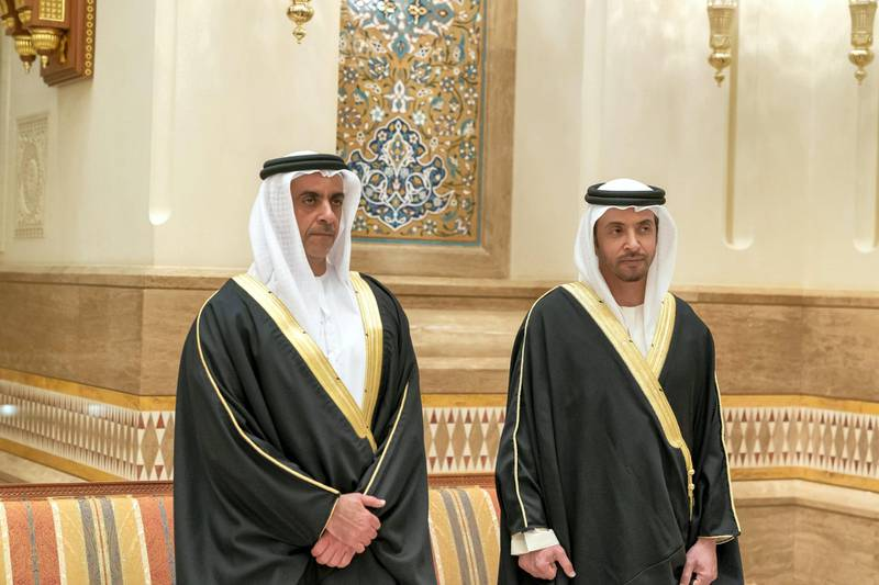 MUSCAT, OMAN - January 12, 2020: HH Lt General Sheikh Saif bin Zayed Al Nahyan, UAE Deputy Prime Minister and Minister of Interior (L) and HH Sheikh Hazza bin Zayed Al Nahyan, Vice Chairman of the Abu Dhabi Executive Council (R), attend the condolences of the late HM Qaboos bin Saeed, Sultan of Oman, at Al Alam Palace.    ( Mohamed Al Hammadi / Ministry of Presidential Affairs ) ---