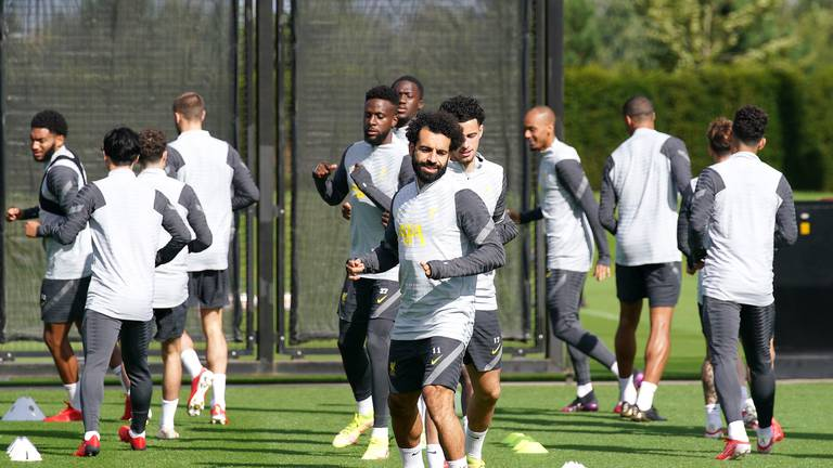 An image that illustrates this article Salah, Van Dijk and Mane train with Liverpool ahead of Porto game