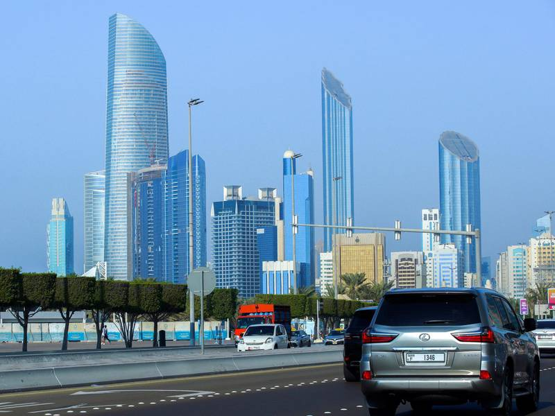 Abu Dhabi, United Arab Emirates, November 2, 2020.   The Corniche skyline on a beautiful sunny afternoon.Victor Besa/The NationalSection:  NAFor:  Standalone/Stock/Weather