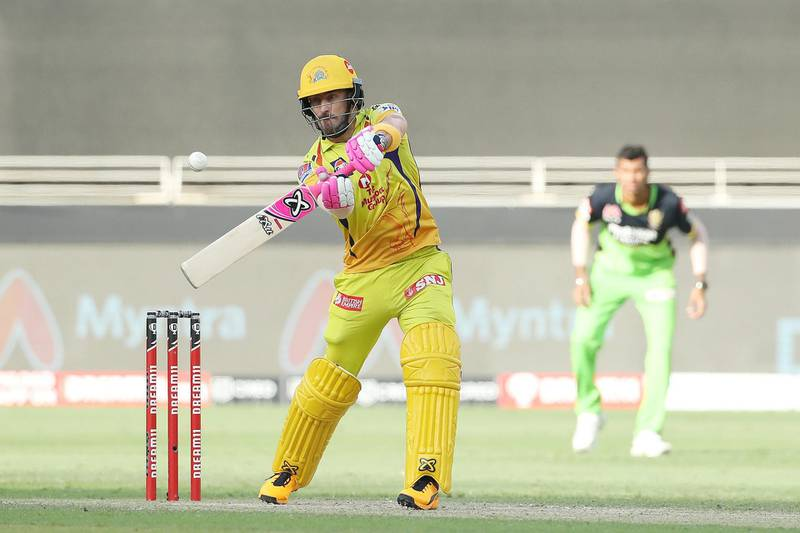 Faf du Plessis of Chennai Superkings during match 44 of season 13 of the Dream 11 Indian Premier League (IPL) between the Royal Challengers Bangalore and the Chennai Super Kings held at the Dubai International Cricket Stadium, Dubai in the United Arab Emirates on the 25th October 2020.  Photo by: Ron Gaunt  / Sportzpics for BCCI
