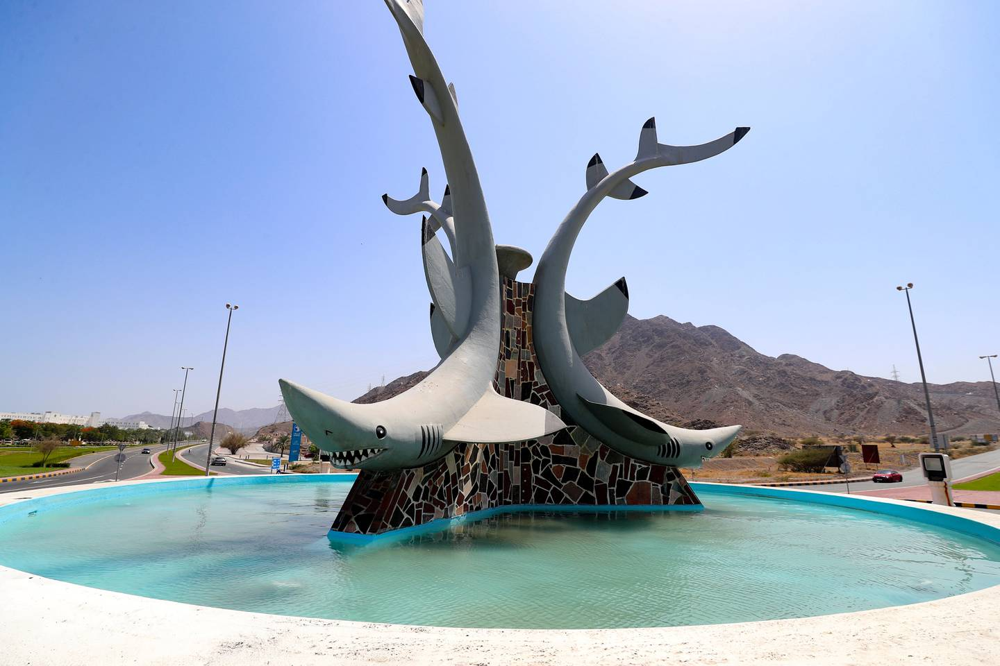 Dubai, United Arab Emirates - July 02, 2019: Roundabouts of the UAE. A roundabout in Dibba with sharks on it. Tuesday the 2nd of July 2019. Dibba. Chris Whiteoak / The National