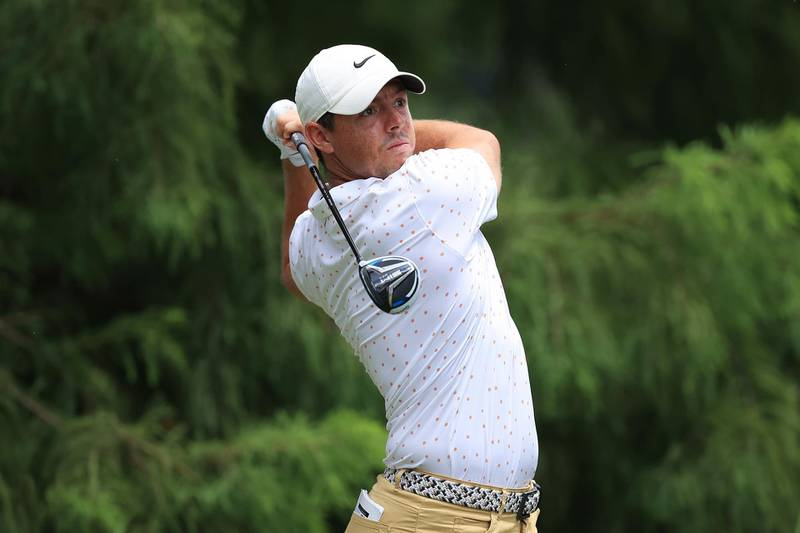 MEMPHIS, TENNESSEE - AUGUST 02: Rory McIlroy of Northern Ireland plays his shot from the 12th tee during the final round of the World Golf Championship-FedEx St Jude Invitational at TPC Southwind on August 02, 2020 in Memphis, Tennessee.   Andy Lyons/Getty Images/AFP == FOR NEWSPAPERS, INTERNET, TELCOS & TELEVISION USE ONLY ==