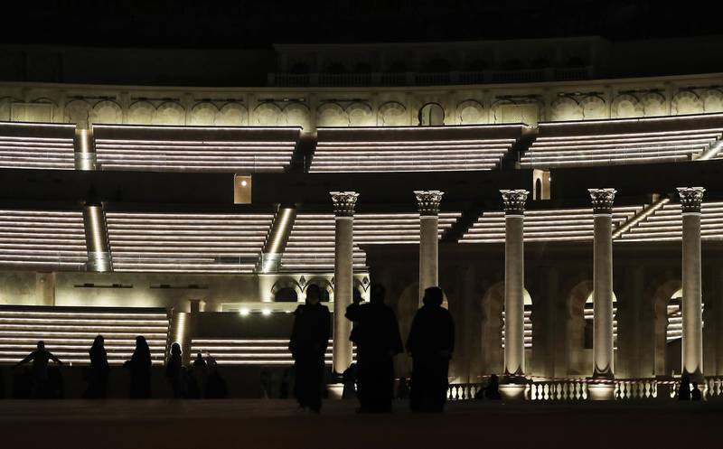 SHARJAH , UNITED ARAB EMIRATES , December 21– 2020 :-  Visitors at the Khor Fakkan amphitheatre in Sharjah. ( Pawan Singh / The National ) For News/Standalone/Instagram/Big Picture.