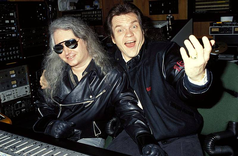 """Meat Loaf and Jim Steinman during Meat Loaf in Studio Recording """"Bat Out of Hell II"""" in Los Angeles, California, United States. (Photo by Jeff Kravitz/FilmMagic, Inc)"""