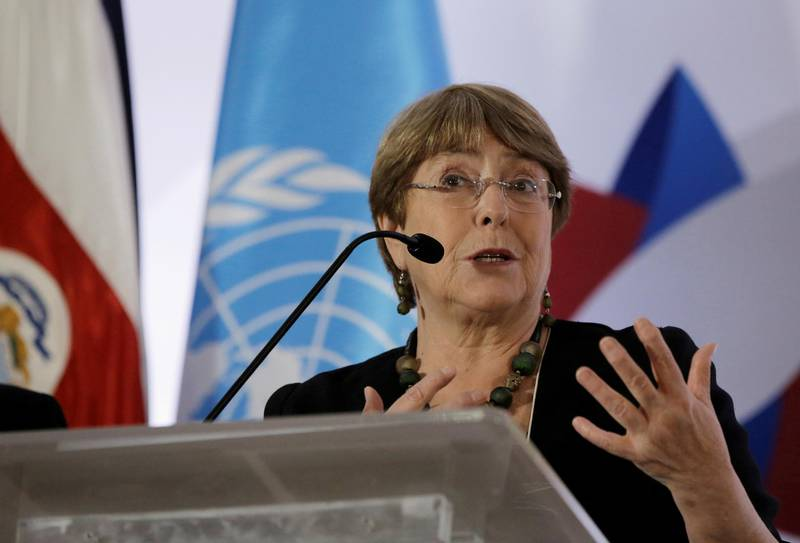 FILE PHOTO: U.N. High Commissioner for Human Rights Michelle Bachelet gives a speach during a forum on women of African descent in San Jose December 3, 2019. REUTERS/Juan Carlos Ulate/File Photo