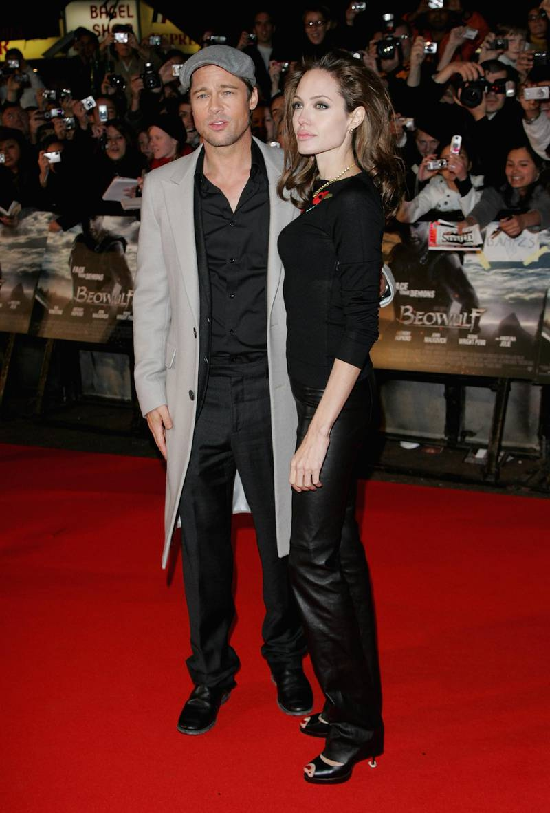 LONDON - NOVEMBER 11:  Brad Pitt and Angelina Jolie attend the Beowulf film premiere held at the Vue Leicester Square on November 11, 2007 in London, England.  (Photo by Gareth Cattermole/Getty Images)