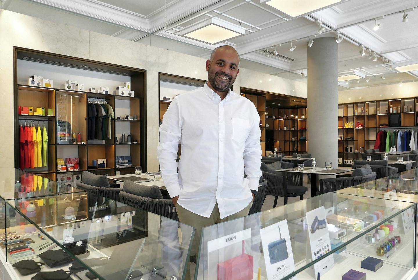 Rayan Toufic Daouk, owner of The Name concept store and a resto café at Dubai Design District in Dubai on June 23,2021. Pawan Singh / The National. Story by Janice Rodrigues