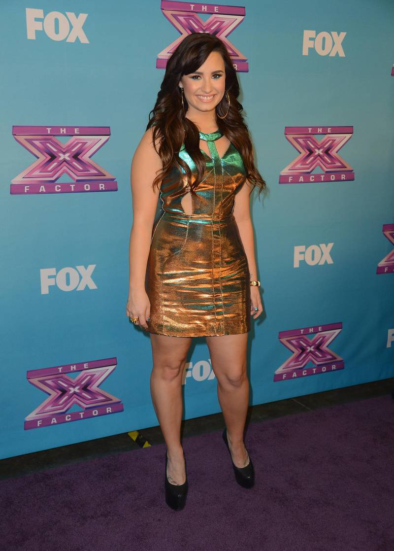"""LOS ANGELES, CA - DECEMBER 20: Singer Demi Lovato arrives at Fox's """"The X Factor"""" Season Finale - Night 2 at CBS Television City on December 20, 2012 in Los Angeles, California.   Frazer Harrison/Getty Images/AFP"""