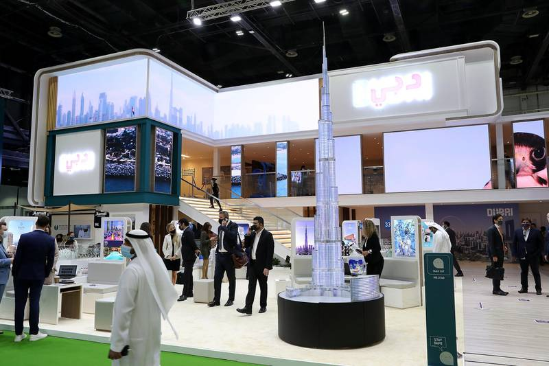 Visitors at the Dubai stand during the Arabian Travel Market held at Dubai World Trade Centre in Dubai on May 16,2021. Pawan Singh / The National. Story by Deena