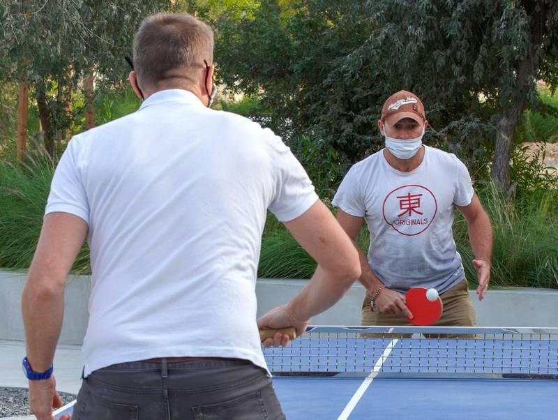 Abu Dhabi, United Arab Emirates, January 21, 2021.  The ping pong area at Al Fay Park on Reem Island.Victor Besa/The National Section:  LFReporter: Panna Munyal