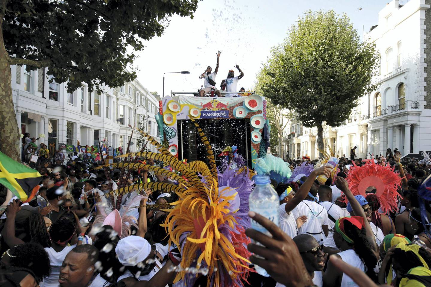LONDON, ENGLAND - AUGUST 26: A general view of atmosphere on the Red Bull Music x Mangrove truck at Notting Hill Carnival 2019 on August 26, 2019 in London, England. (Photo by John Phillips/Getty Images for Redbull)