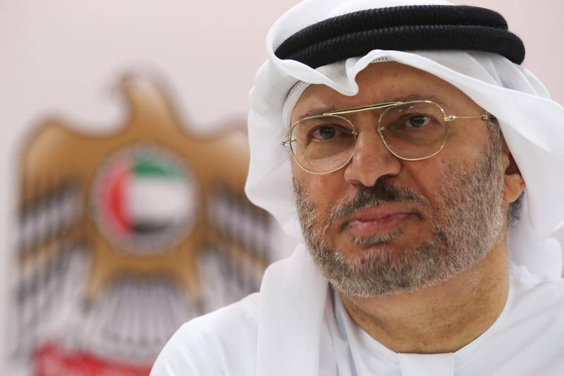 Emirati Minister of State for Foreign Affairs Anwar Gargash speaks to journalists in Dubai, United Arab Emirates, Monday, June 18, 2018. The UAE is part of a Saudi-led coalition fighting against Shiite rebels for control of Yemen's port city of Hodeida. Gargash said Monday that the battle for Hodeida is aimed at forcing the country's Shiite rebels into negotiating an end to a yearslong war. (AP Photo/Jon Gambrell)