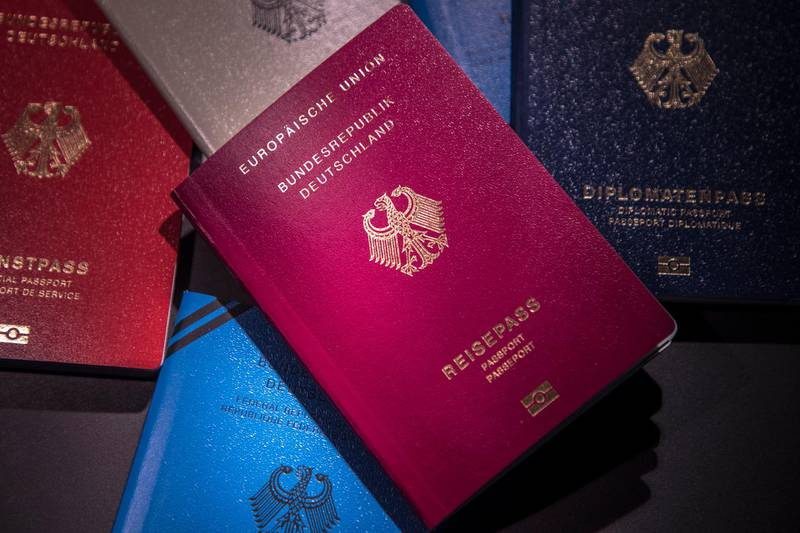 The new German passport on display during a presentation at the Ministry of the Interior in Berlin, Germany, 23 February 2017. The new passport features numerous safety features. Photo: Michael Kappeler/dpa | usage worldwide   (Photo by Michael Kappeler/picture alliance via Getty Images)