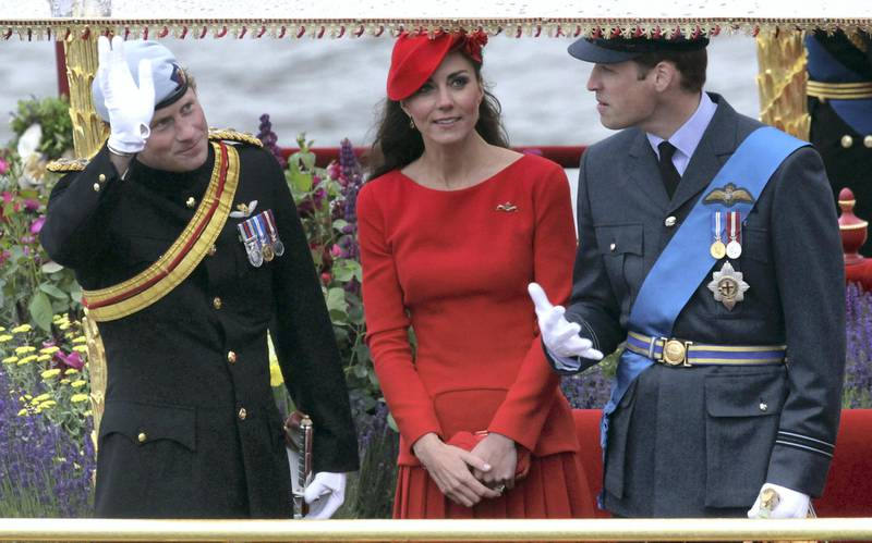 LONDON, ENGLAND - JUNE 03:  Prince Harry, Catherine, Duchess of Cambridge and Prince William, Duke of Cambridge wave from the royal barge 'Spirit of Chartwell' during the Diamond Jubilee Thames River Pageant and on June 3, 2012 in London, England. For only the second time in its history the UK celebrates the Diamond Jubilee of a monarch. Her Majesty Queen Elizabeth II celebrates the 60th anniversary of her ascension to the throne. Thousands of well-wishers from around the world have flocked to London to witness the spectacle of the weekend's celebrations. The Queen along with all members of the royal family will participate in a River Pageant with a flotilla of a 1,000 boats accompanying them down The Thames, the star studded free concert at Buckingham Palace, and a carriage procession and a service of thanksgiving at St Paul's Cathedral.  (Photo by Matt Cardy/Getty Images)