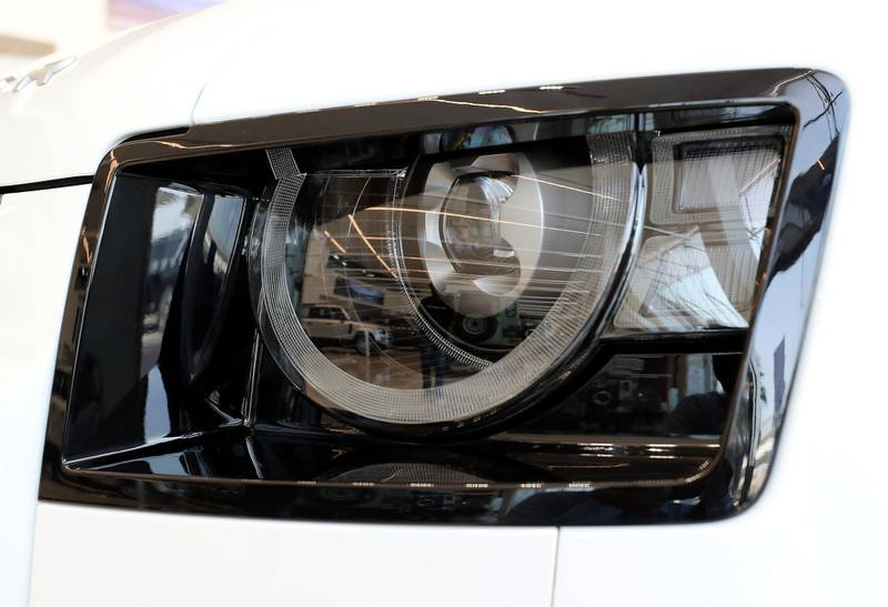 DUBAI, UNITED ARAB EMIRATES , June 27 – 2020 :- Headlight of the Land Rover Defender SE model on display at the Land Rover Defenders showroom on Sheikh Zayed Road in Dubai. (Pawan Singh / The National) For Motoring. Story by Simon