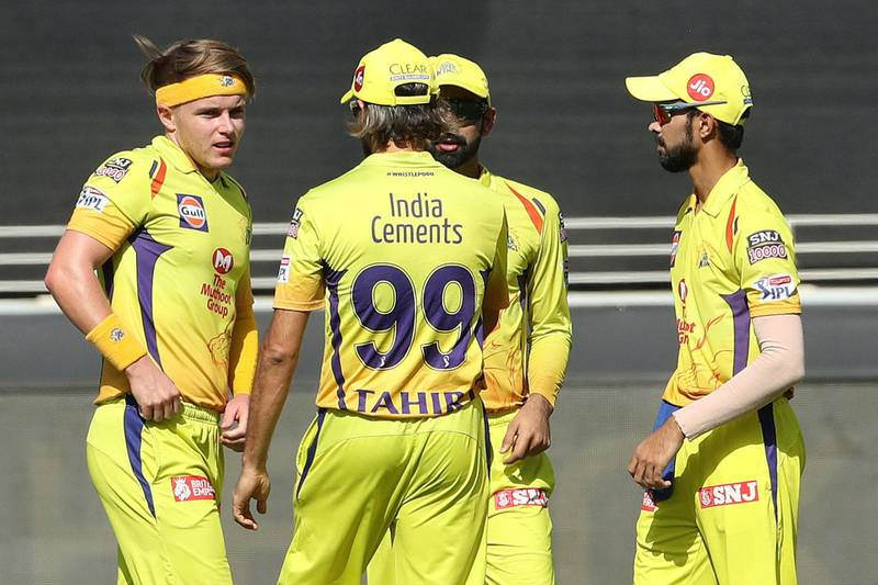 Sam Curran of Chennai Superkings celebrates the wicket of Aaron Finch of Royal Challengers Bangalore during match 44 of season 13 of the Dream 11 Indian Premier League (IPL) between the Royal Challengers Bangalore and the Chennai Super Kings held at the Dubai International Cricket Stadium, Dubai in the United Arab Emirates on the 25th October 2020.  Photo by: Ron Gaunt  / Sportzpics for BCCI
