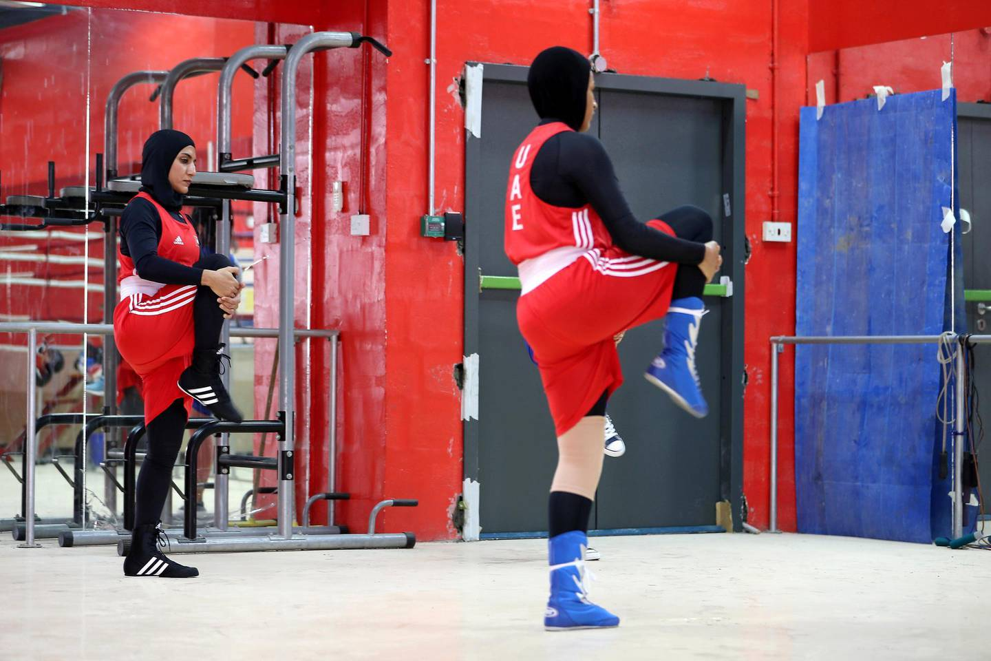 ABU DHABI,  UNITED ARAB EMIRATES , JUNE 16 – 2019 :- Left to Right - Fahima Falaknaz and Hanan Ibrahim Alzyodi during the boxing training at the UAE Boxing Federation HQ located at the Zayed Sports City Football stadium in Abu Dhabi. ( Pawan Singh / The National ) For Sport. Story by Amith
