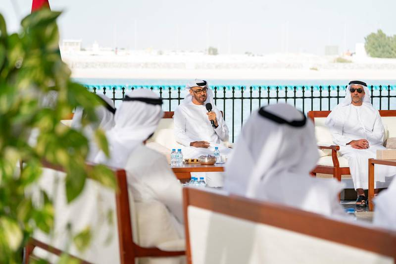 ABU DHABI, UNITED ARAB EMIRATES - March 16, 2020: HH Sheikh Mohamed bin Zayed Al Nahyan, Crown Prince of Abu Dhabi and Deputy Supreme Commander of the UAE Armed Forces (L), delivers a speech about the UAE's Covid19 response, during a Sea Palace barza. Seen with HH Lt General Sheikh Saif bin Zayed Al Nahyan, UAE Deputy Prime Minister and Minister of Interior (R).  ( Mohamed Al Hammadi / Ministry of Presidential Affairs ) ---