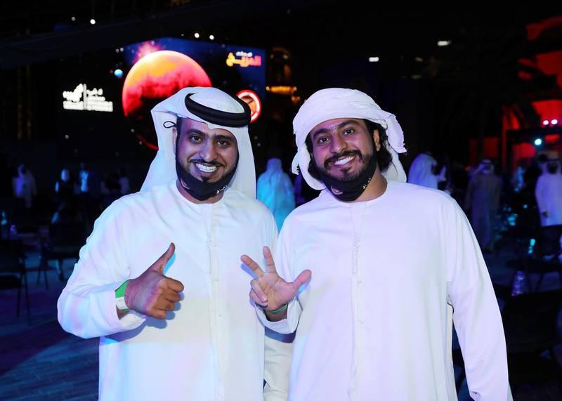 Dubai, United Arab Emirates - Reporter: Sarwat Nasir. News. Mars Mission. People celebrate at an event at Burj Park to celebrate the Hope probe going into orbit around Mars. Tuesday, February 9th, 2021. Dubai. Chris Whiteoak / The National