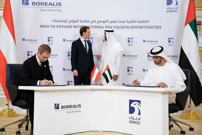 Mohamed bin Zayed and the Austrian Chancellor witness the signing of agreements to strengthen the partnership between ADNOC and Austrian companies OMV and Borealis.
