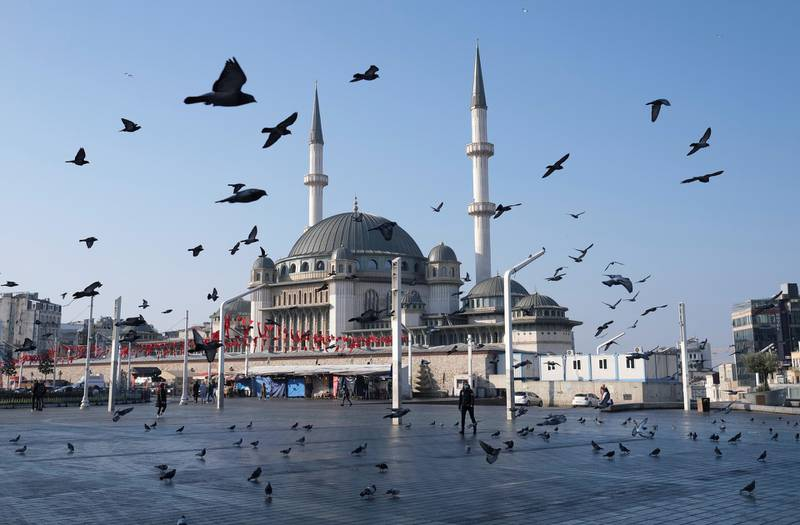 FILE PHOTO: Pigeons fly over the Taksim Square during a nation-wide weekend curfew which was imposed to prevent the spread of the coronavirus disease (COVID-19), in Istanbul, Turkey December 5, 2020. REUTERS/Murad Sezer/File Photo