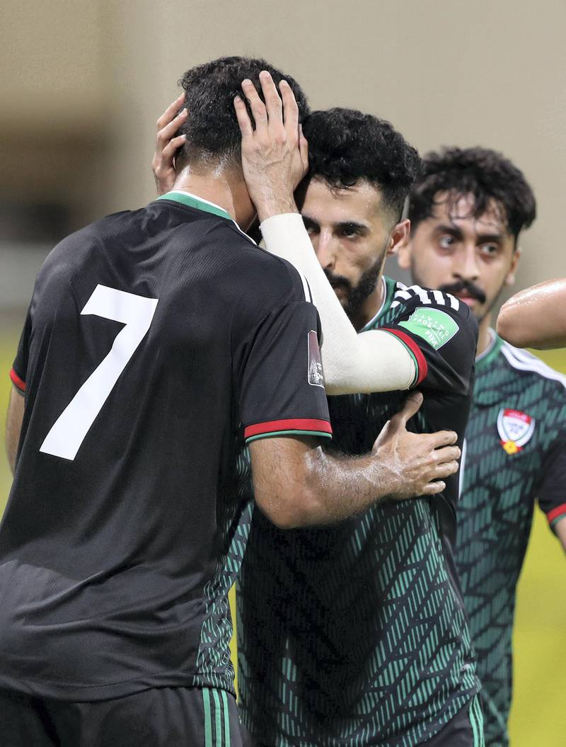 UAE's Ali Mabkhout scores during the game between the UAE and Indonesia in the World cup qualifiers at the Zabeel Stadium, Dubai on June 11th, 2021. Chris Whiteoak / The National.  Reporter: John McAuley for Sport