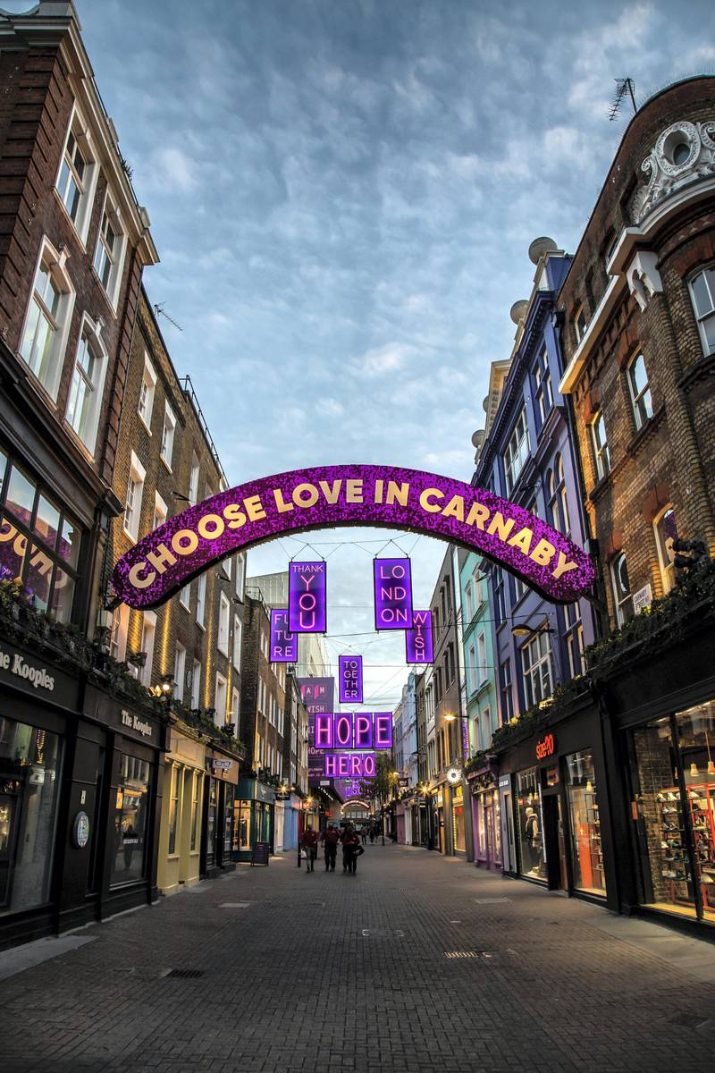Locations in London during lockdown in the lead up to Christmas 2020. Carnaby Street