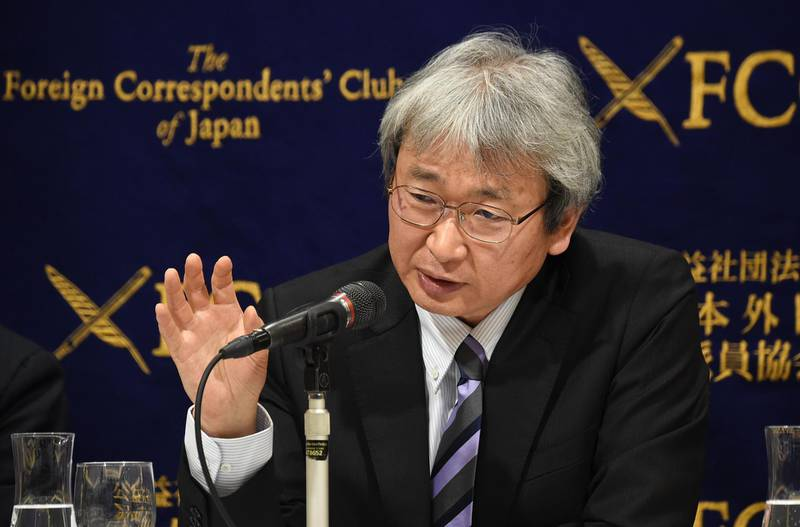 (FILES) In this file photo taken on January 8, 2019 chief lawyer for former Nissan chairman Carlos Ghosn, Motonari Otsuru, speaks during a press conference at the Foreign Correspondents' Club of Japan in Tokyo. Two lawyers defending former Nissan chief Carlos Ghosn on charges of financial misconduct submitted their resignations on February 13, 2019, their law firm said in a statement. There was no immediate explanation as to why the attorneys, who include lead lawyer Motonari Otsuru, were quitting Ghosn's defence team. / AFP / Kazuhiro NOGI