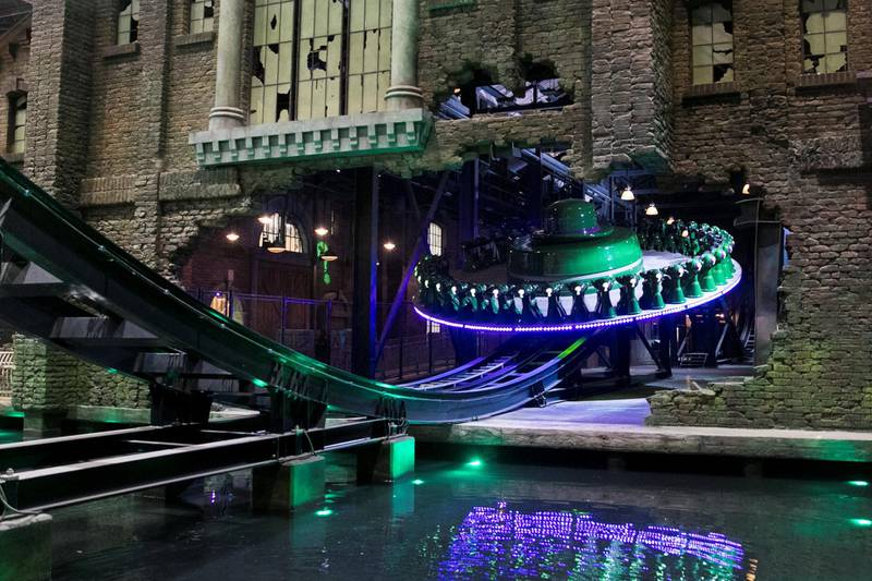 ABU DHABI, UNITED ARAB EMIRATES - JULY 11, 2018. The Riddler Revolution ride in Gotham City park at Warner Bros. World Abu Dhabi.Warner Bros. World Abu Dhabi will be the world's first ever Warner Bros. branded indoor theme park, opening on the 25th of July 2018 on Yas Island, the UAE's premier Family destination for entertainment & leisure. (Photo by Reem Mohammed/The National)Reporter: Rupert Hawksley Section: AC