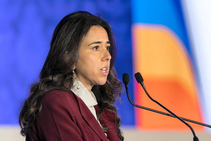 Abu Dhabi, United Arab Emirates, December 18, 2017:    Lana Zaki Nusseibeh Ambassador and Permanent Representative of the United Arab Emirates to the United Nations delivers one of the keynote speeches during the Gender Dimensions of International Peace and Security conference at the Ritz Carlton Grand Canal hotel in the Khor Al Maqta'a area of Abu Dhabi on December 18, 2017. Christopher Pike / The National  Reporter: Caline Malek Section: News