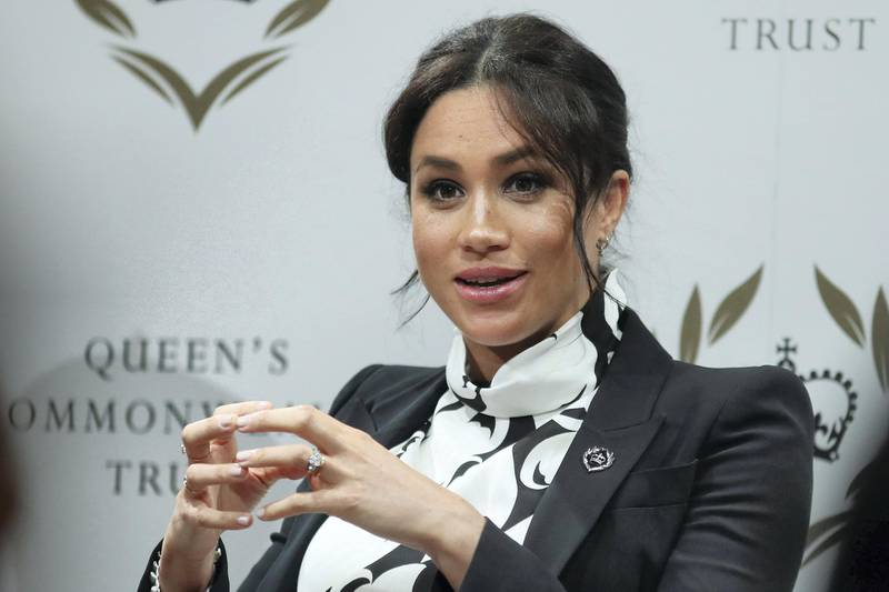 LONDON, ENGLAND - MARCH 8: Meghan, Duchess of Sussex attends a panel discussion convened by the Queen's Commonwealth Trust to mark International Women's Day on March 8, 2019 in London, England. (Photo by Daniel Leal-Olivas - WPA Pool/Getty Images)