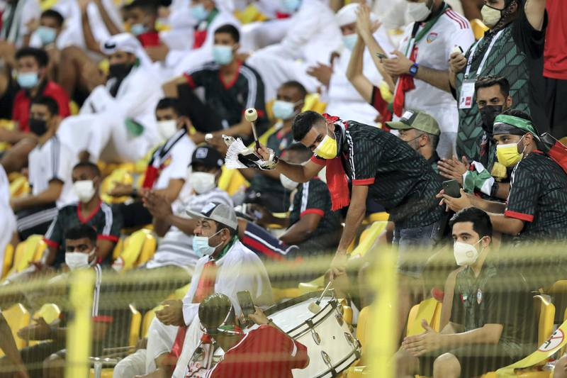 UAE fans before the game between the UAE and Indonesia in the World cup qualifiers at the Zabeel Stadium, Dubai on June 11th, 2021. Chris Whiteoak / The National.  Reporter: John McAuley for Sport