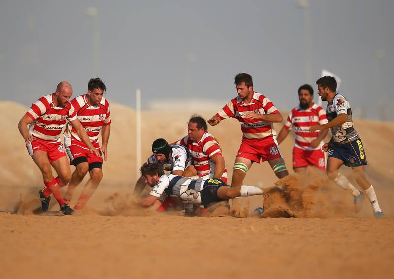 RAS AL KHAIMAH, UNITED ARAB EMIRATES - OCTOBER 21:  A general view of play during the Community League match between RAK Goats and Beaver Nomads at Bin Majid Beach Resort on October 21, 2016 in Ras Al Khaimah, United Arab Emirates.  (Photo by Francois Nel/Getty Images)