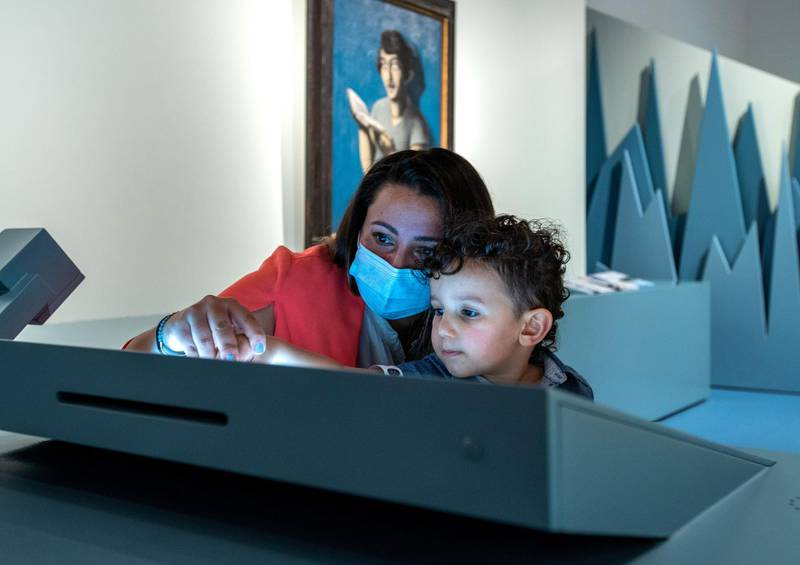 Louvre Abu Dhabi Children's Museum reopens this week. Preview of the revamped space June, 15, 2021. Elias Kadoura, 2, learns while using his stylus pen. Victor Besa / The National. Reporter: Alexandra Chaves for Arts & Culture
