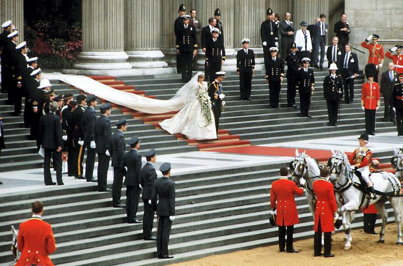 The Prince and Princess of Wales leave St Paul's Cathedral on their wedding day, 29th July 1981. (Photo by Jayne Fincher/Princess Diana Archive/Getty Images)