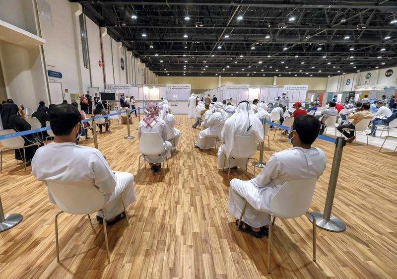 Abu Dhabi, United Arab Emirates, August 6, 2020.  Vaccine volunteers at the ADNEC volunteer facility. Victor Besa /The NationalSection: NAReporter:  Shireena Al Nowais