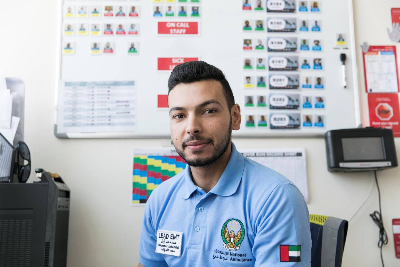 RAS AL KHAIMAH, UNITED ARAB EMIRATES - MAY 29, 2018. Mohammed Alshdaifat, Lead EMT respondant, at Al Rifaa Civil Defence in Ras Al Khaimah.(Photo by Reem Mohammed/The National)Reporter: Nawal Al RamahiSection: NA