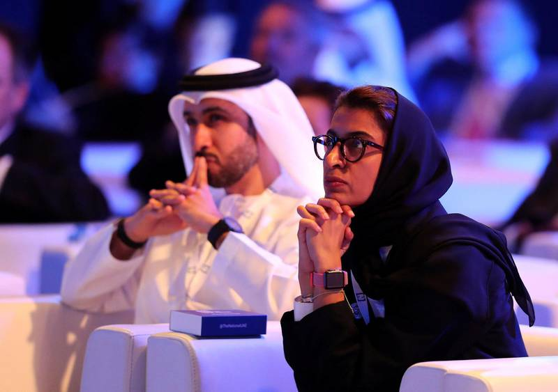 Abu Dhabi, United Arab Emirates - May 8th, 2018: Noura Al Kaabi at The National's Future Forum. Tuesday, May 8th, 2018 at Cleveland Clinic, Abu Dhabi. Chris Whiteoak / The National