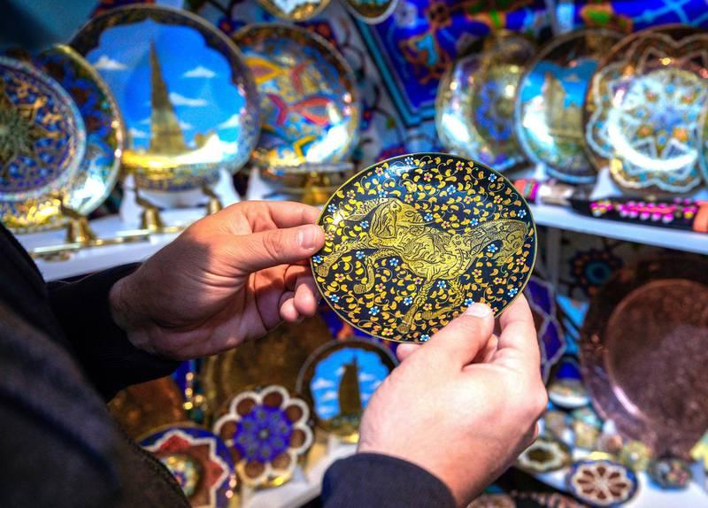 Abu Dhabi, United Arab Emirates, January 10, 2021.  Uzbekistan plates at Sheikh Zayed Festival.Victor Besa/The NationalSection:  NAReporter:  Saeed Saeed