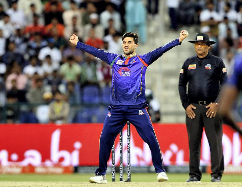Abu Dhabi, October,22 2019: Qais Ahmed of Bangla celebrates a wicket against Maratha Arabians during the T10 match at the Zayed Cricket stadium in Abu Dhabi . Satish Kumar/ For the National