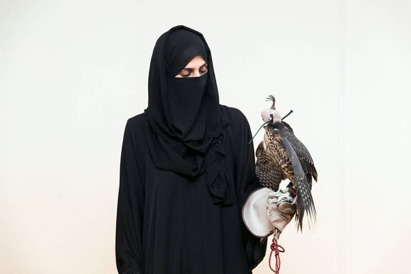 ABU DHABI, UNITED ARAB EMIRATES - SEP 27:Ayesha Al Mansoori at Abu Dhabi Falconers Club.(Photo by Reem Mohammed/The National)Reporter: Anna ZachariasSection: NA