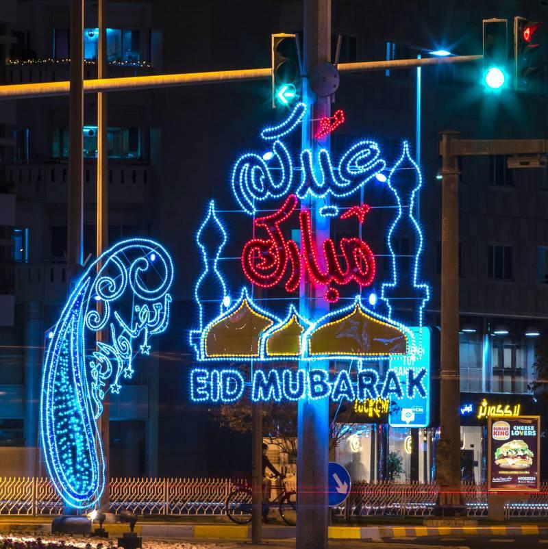 Eid Mubarak lights at Sheikh Rashid Bin Saeed Roundabout in Abu Dhabi.  Shot on May 9, 2021.  Victor Besa / The National.