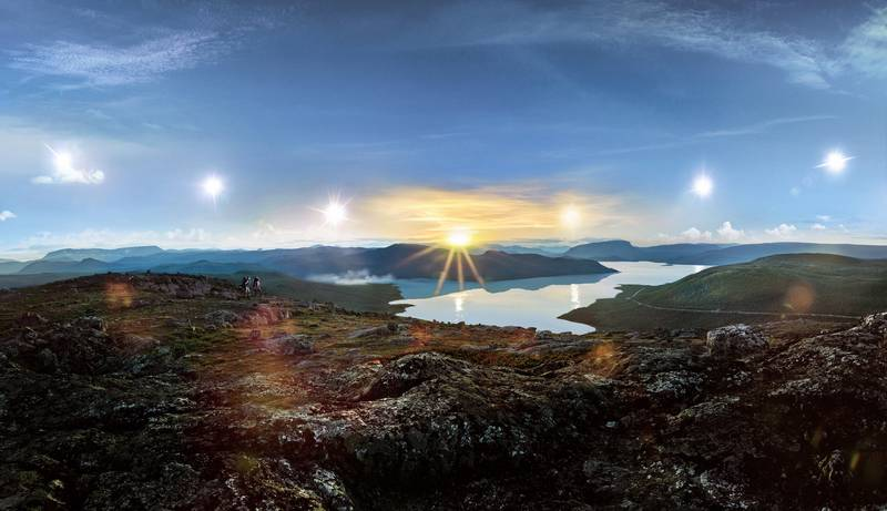 A handout photo of midnight sun at Kakslauttanen Arctic Resort in Finland (Courtesy: Kakslauttanen Arctic Resort) *** Local Caption ***  wk29ma-tr-finland03.jpeg