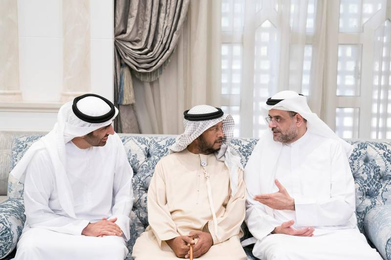 ABU DHABI, UNITED ARAB EMIRATES - January 29, 2018: HH Sheikh Sultan bin Mohamed Al Qasimi, Crown Prince of Sharjah (R), offers condolences to HH Sheikh Sultan bin Zayed Al Nahyan, UAE President's Representative (C), and HH Sheikh Saeed bin Zayed Al Nahyan, Abu Dhabi Ruler's Representative (L), on the passing of HH Sheikha Hessa bint Mohamed Al Nahyan, at Mushrif Palace. ( Hamad Al Kaabi / Crown Prince Court - Abu Dhabi ) —