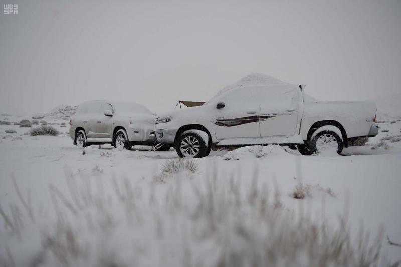 Snow in Tabuk, Saudi Arabia. SPA