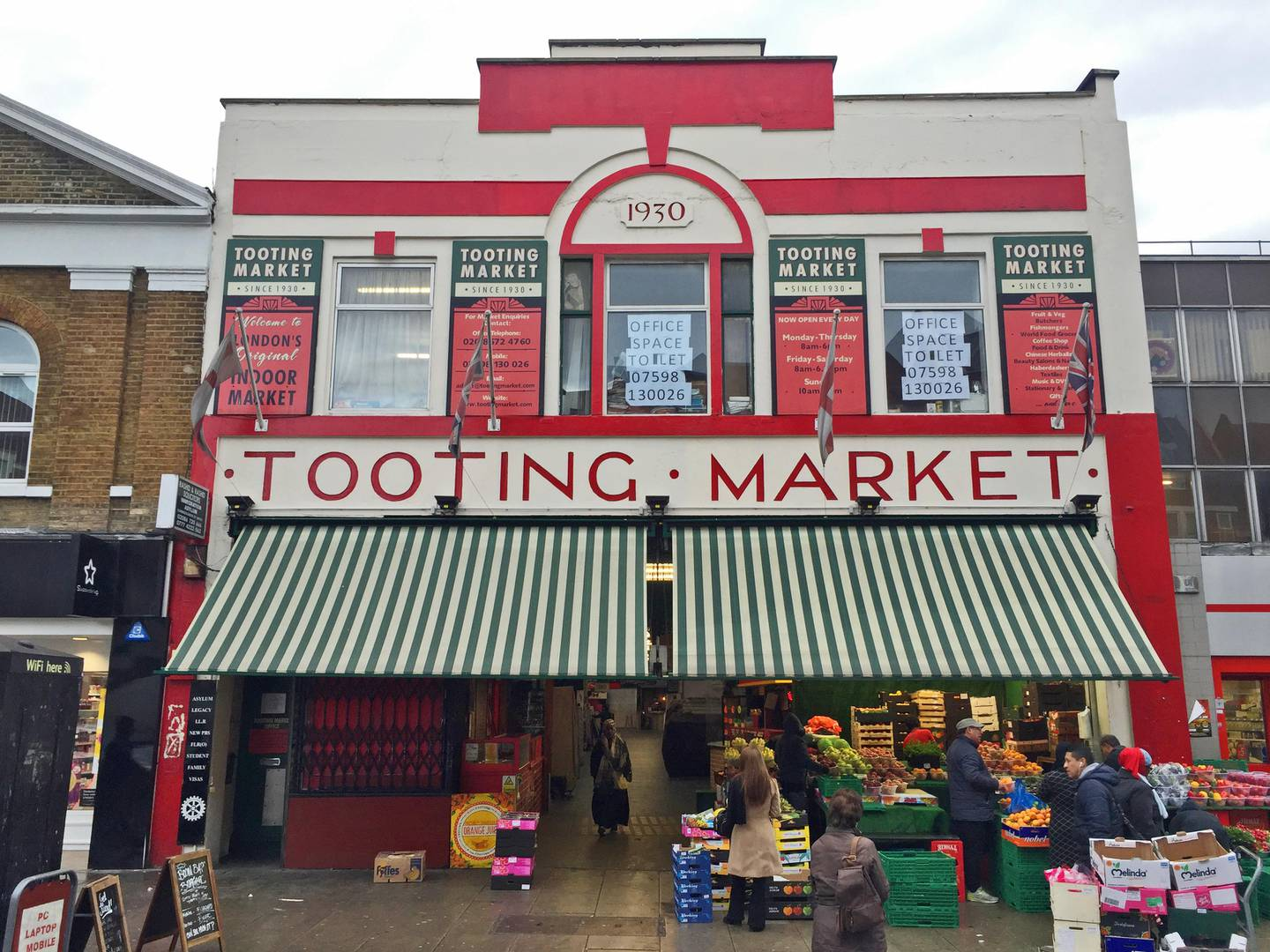 The frontage of Tooting Market, a South London shopping institution