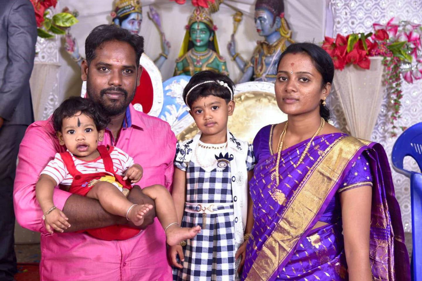 Mohanraj Thanigachalam with his family in Cudallore, a town in southern Tamil Nadu state. He is one of 14 Indian sailors released after 10 months in captivity by Houthi rebels. Courtesy: Mohanraj Thanigachalam