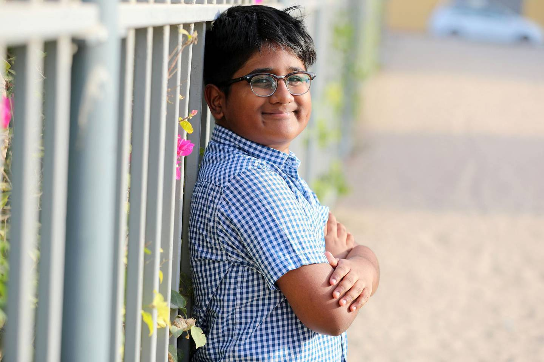 Raghav Krishna, a 12-year-old pupil at Delhi Private School Sharjah has won The Diana Award for his humanitarian efforts in Dubai on June 28th, 2021. Chris Whiteoak / The National.  Reporter: Anam Rizvi for News