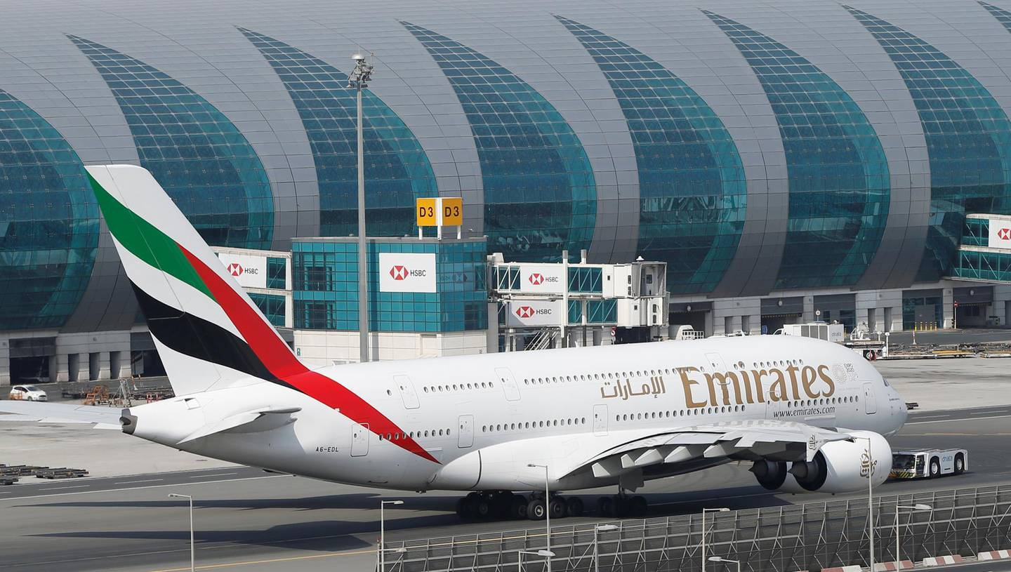 epa07671259 An Emirates Airline Airbus A380 is pulled back from the jet bridges to take off from Dubai International Airport, United Arab Emirates, 24 June 2019. As a result of the downing of the US unmanned Global Hawk aircraft by Iran in Hormuz Strait region many of the world's leading carriers in UAE such Emirates Airlines, Etihad and others in additional to the International flying operators such as US carries, British Airways, Qantas and Singapore Airlines rerouted some of their flights beginning on 21 June 2019 to avoid from flying over some paths from Hormuz Strait and Oman Gulf as a precautionary procedure to secure the civilian flights from the mounting of crisis in the Gulf region, this step came after a decision by US Federal Aviation Administration banning the US carriers from flying over the regions which are under Iran's control.  EPA/ALI HAIDER